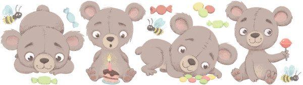 Medium Teddy bear decal layout