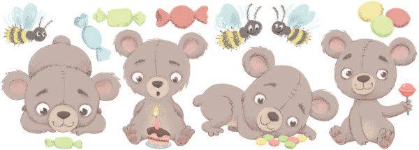 Small Teddy bear decal layout