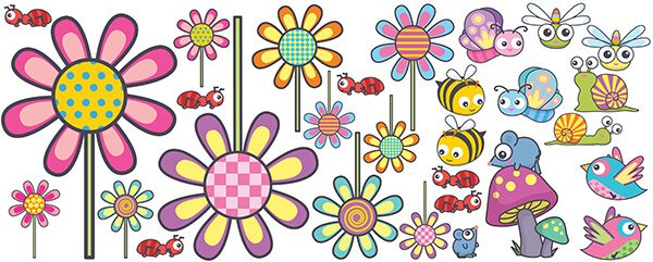 bugs and flower decal sheet