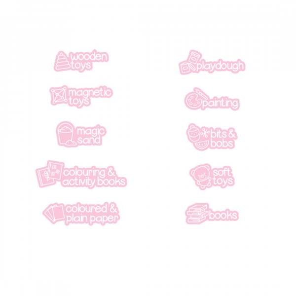 light pink picture labels