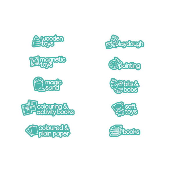teal picture labels