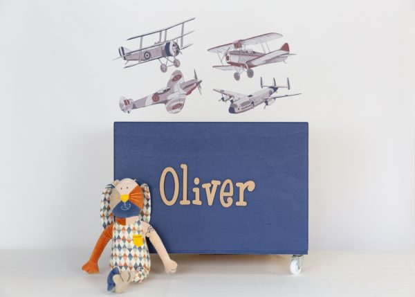 Aeroplane wall decals with large navy toybox