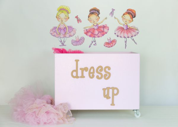 Ballerina wall decals with pink large toybox on wheels