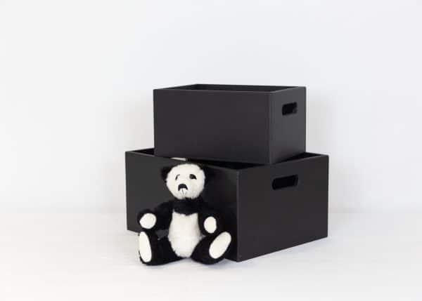 Black small and medium toy box