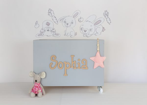 Bunny wall decals with large grey toybox