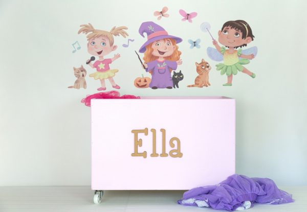 Dress up girls wall decals with large pink toybox on wheels
