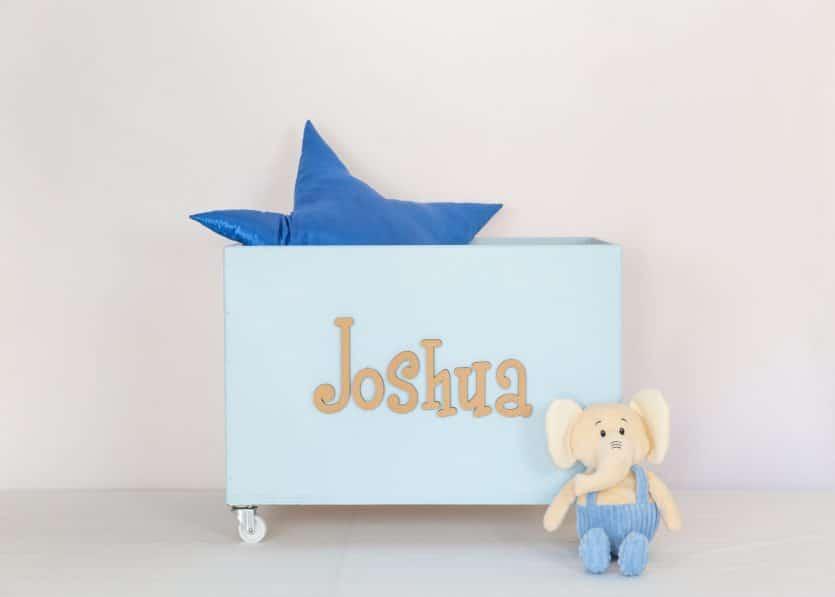 Large blue toybox on wheels