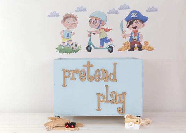 Little boy wall decals with large light blue toybox on wheels