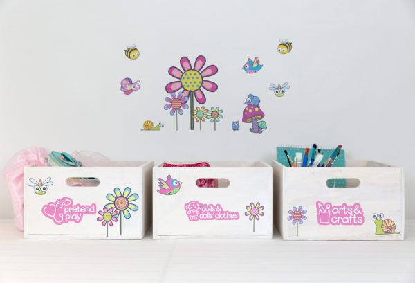 Medium toyboxes with picture labels and flower decals