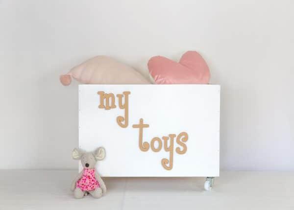 Personalised large white toybox on wheels