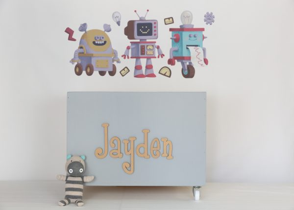 Robot wall decals with large grey toybox