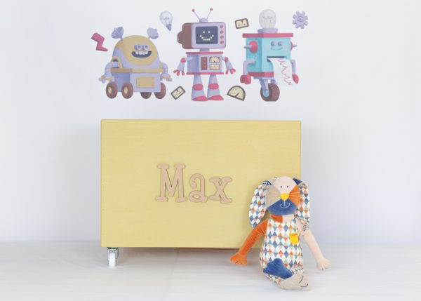 Robot wall decals with large mustard toybox