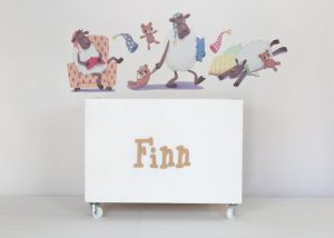 Sleepy sheep wall decals with large white toybox on wheels