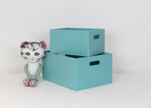 Small and medium teal toybox