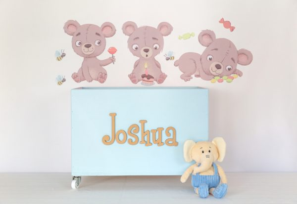 Teddies wall decals with blue large toybox on wheels