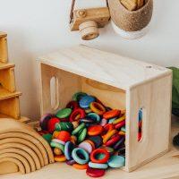 Small natural wooden box